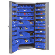 "Bin Cabinet Deep Door with 136 Blue Bins, 16-Gauge Unassembled Cabinet 38""W x 24""D x 72""H, Gray"