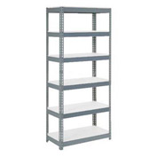 "Extra Heavy Duty Shelving 36""W x 18""D x 60""H With 6 Shelves, 1500 lbs. Capacity Per Shelf, Gray"