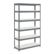 "Extra Heavy Duty Shelving 48""W x 24""D x 60""H Gray With 6 Shelves, 1200 lbs. Capacity Per Shelf"
