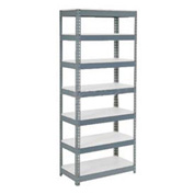"Extra Heavy Duty Shelving 36""W x 12""D x 84""H With 7 Shelves, 1500 lbs. Capacity Per Shelf, Gray"