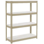 "Extra Heavy Duty Shelving 48""W x 24""D x 60""H With 4 Shelves, 1200 lbs. Capacity Per Shelf, Tan"