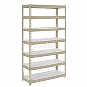 "Extra Heavy Duty Shelving 36""W x 18""D x 84""H With 7 Shelves, 1500 lbs. Capacity Per Shelf, Tan"