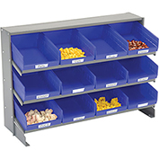 3 Shelf Bench Pick Rack With 12 Blue Shelf Bins 8 Inch Wide 33x12x21