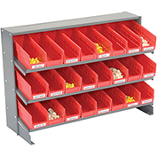 3 Shelf Bench Pick Rack With 24 Red Plastic Shelf Bins 4 Inch Wide 33x12x21
