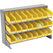 3 Shelf Bench Pick Rack With 24 Yellow Plastic Shelf Bins 4 Inch Wide 33x12x21