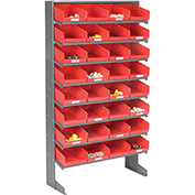 8 Shelf Floor Pick Rack With 32 Red Plastic Shelf Bins 8 Inch Wide 33x12x61