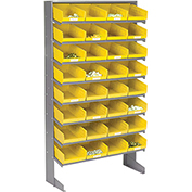 8 Shelf Floor Pick Rack With 32 Yellow Plastic Shelf Bins 8 Inch Wide 33x12x61