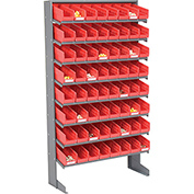 8 Shelf Floor Pick Rack With 64 Red Plastic Shelf Bins 4 Inch Wide 33x12x61