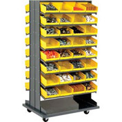 16 Shelf Double-Sided Mobile Pick Rack With 64 Yellow Plastic Shelf Bins 8 Inch Wide