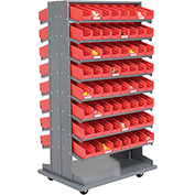 16 Shelf Double-Sided Mobile Pick Rack With 128 Red Plastic Shelf Bins 4 Inch Wide