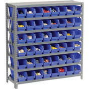 "Steel Shelving with 48 4""H Plastic Shelf Bins Blue, 36x12x39-7 Shelves"