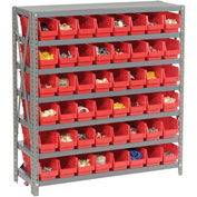 "Steel Shelving with 48 4""H Plastic Shelf Bins Red, 36x12x39-7 Shelves"