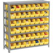 "Steel Shelving with 48 4""H Plastic Shelf Bins Yellow, 36x12x39-7 Shelves"