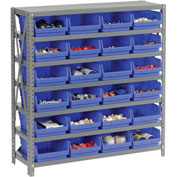 "Steel Shelving with 24 4""H Plastic Shelf Bins Blue, 36x12x39-7 Shelves"