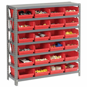 "Steel Shelving with 24 4""H Plastic Shelf Bins Red, 36x12x39-7 Shelves"