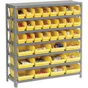 "Steel Shelving with Total 36 4""H Plastic Shelf Bins Yellow, 36x18x39-7 Shelves"