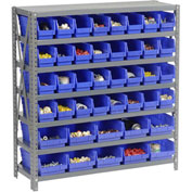"Steel Shelving with Total 42 4""H Plastic Shelf Bins Blue, 36x18x39-7 Shelves"