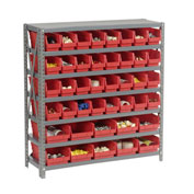 "Steel Shelving with Total 42 4""H Plastic Shelf Bins Red, 36x18x39-7 Shelves"
