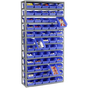 "Steel Shelving with 60 4""H Plastic Shelf Bins Blue, 36x12x72-13 Shelves"