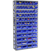 "Steel Shelving with Total 72 4""H Plastic Shelf Bins Blue, 36x12x72-13 Shelves"