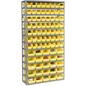 "Steel Shelving with Total 81 4""H Plastic Shelf Bins Yellow, 36x12x72-13 Shelves"