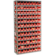 "Steel Shelving with 96 4""H Plastic Shelf Bins Red, 36x12x72-13 Shelves"