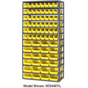 "Steel Shelving with 48 4""H Plastic Shelf Bins Yellow, 36x18x72-13 Shelves"