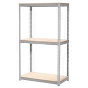"Expandable Starter Rack 60""W x 36""D x 84""H Gray With 3 Level Wood Deck 1000lb Cap Per Deck"