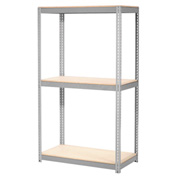 "Expandable Starter Rack 96""W x 24""D x 84""H Gray With 3 Level Wood Deck 800lb Cap Per Level"