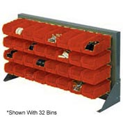 "Louvered Bench Rack 36""W x 20""H With 22 of Red Stacking Akrobins"