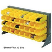 "Louvered Bench Rack 36""W x 20""H With 22 of Yellow Stacking Akrobins"