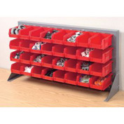 "Louvered Bench Rack 36""W x 20""H With 32 of Red Stacking Akrobins"