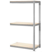 "Expandable Add-On Rack 96""W x 48""D x 84""H Gray With 3 Level Wood Deck 800lb Cap Per Level"