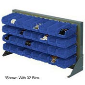 "Louvered Bench Rack 36""W x 20""H With 18 of Blue Stacking Akrobins"