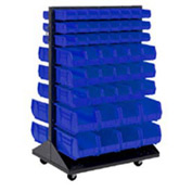 Mobile Double Sided Floor Rack With 64 Blue Akrobins 36 x 54