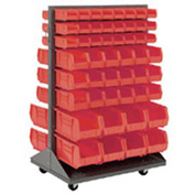 Mobile Double Sided Floor Rack With 96 Red Akrobins 36 x 54