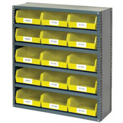 "6 Shelf Closed Steel Shelving With 15 Akro Bins 36""X12""X39"""