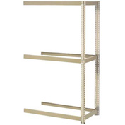 "Expandable Add-On Rack 48""W x 12""D x 84""H Tan With 3 Levels No Deck 1500 Lb Cap Per Level"
