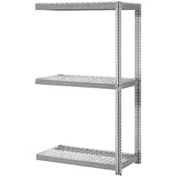 "Expandable Add-On Rack 96""W x 24""D x 84""H Gray With 3 Level Wire Deck 1100lb Cap Per Level"