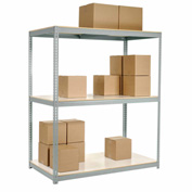 "Wide Span Rack 72""W x 24""D x 96""H Gray With 3 Shelves Laminated Deck 900 Lb Cap Per Level"