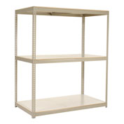 "Wide Span Rack 96""W x 48""D x 84""H Tan With 3 Shelves Laminated Deck 1100 Lb Cap Per Level"