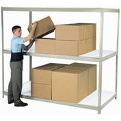"Wide Span Rack 60""W x 48""D x 96""H Tan With 3 Shelves Laminated Deck 1200 Lb Cap Per Level"