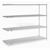 "Nexel Stainless Steel Wire Shelving Add-On 54""W X 18""D X 63""H"