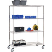 Nexel® Stainless Steel Wire Shelf Truck 72x24x69 1200 Lb. Cap. with Brakes