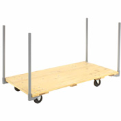 "Stake Handle Hardwood Deck Platform Truck 60 x 30 1000 Lb. Capacity 5"" Polyurethane Casters"