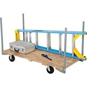 "Stake Handle Hardwood Deck Platform Truck 60 x 30 2000 Lb. Capacity 6"" Rubber Casters"
