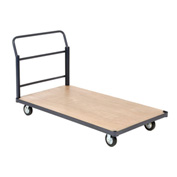 "Steel Bound Wood Deck Platform Truck 48 x 24 1400 Lb. Capacity 5"" Rubber Casters"