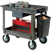 "Plastic Instrument Cart - Tray Top - Power Strip, Locking Drawer & Bin 8"" Wheels - Global Industrial"