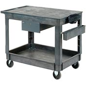 "Global Industrial Plastic Instrument Cart - Flat Top - Power Strip, Locking Drawer & Bin - 5"" Wheels"