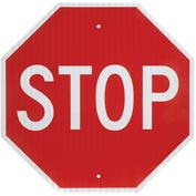 Aluminum Sign - Stop - .080mm Thick, White/Red